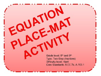 Equation Place-mat Activity Two Steps (Hard)
