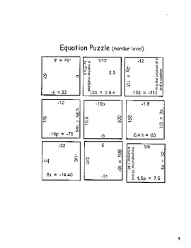 Equation Puzzle Game