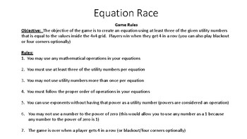 Equation Race with Integers