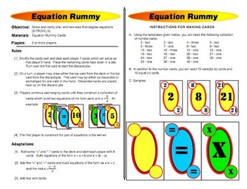 Equation Rummy: Solving Equations Game