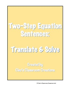 Two- Step Equation Sentences Solve & Snip