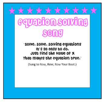 Equation Solving Song