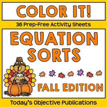 Equation Sort Coloring Sheets (Fall Edition)