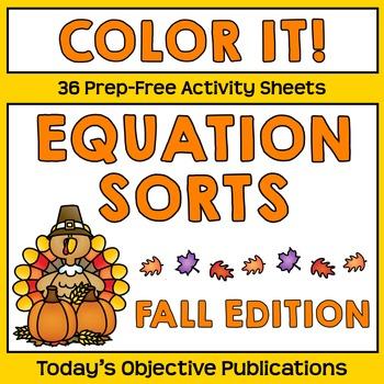 Equation Sort Coloring Sheets (Fall Edition)