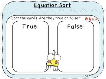 Equation Sort-Fact Fluency Student Game  (First Grade, 1.OA.7)
