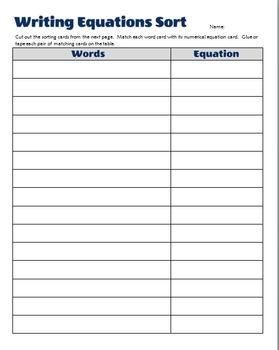 Equation Sort - Translating Words into Equations
