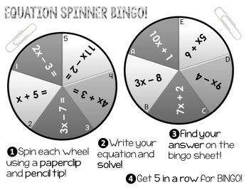 Solving Equations Spinner Bingo!