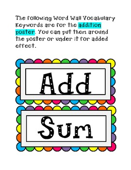 Equation Symbol Keywords, Posters, Word Wall Vocabulary