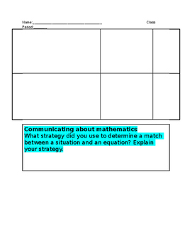 Equation Task Cards Recording Sheet