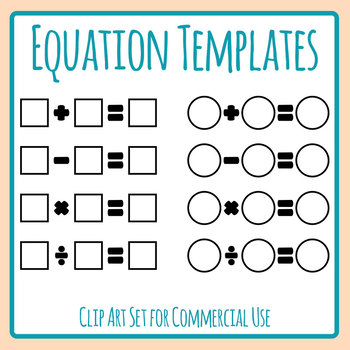 Equation Templates - Addition, Subtraction, Multiplication and Division Clip Art