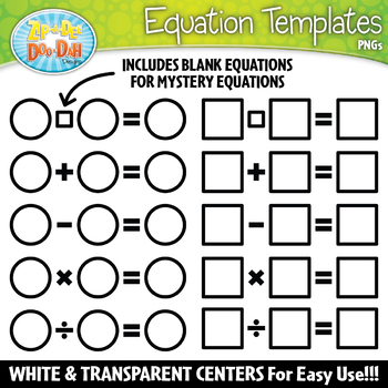 Equation Templates Clipart Set {Zip-A-Dee-Doo-Dah Designs}