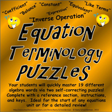 Equation Terminology / Equation Vocabulary Puzzles