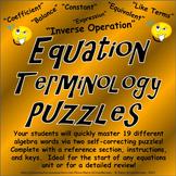 Equation Terminology / Equation Vocabulary Puzzles
