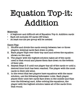 Equation Top-it: Addition