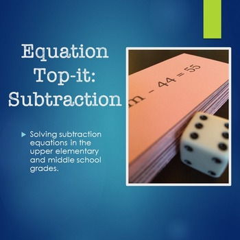 Equation Top-it: Subtraction