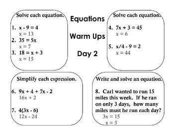 Equation Warm Ups