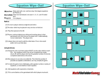 Equation Wipe-Out Game: Solve and verify one- and two-step, equations