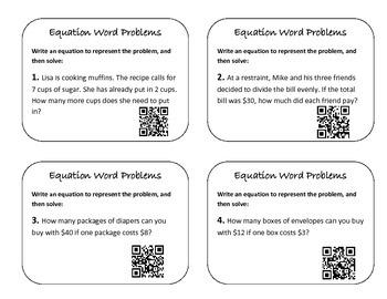 Equation Writing QR Task Cards