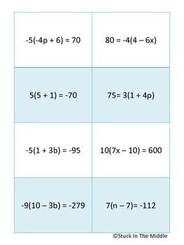 Equation Yahtzee:  Distribute