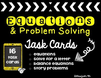 Equation and Problem Solving Task Cards