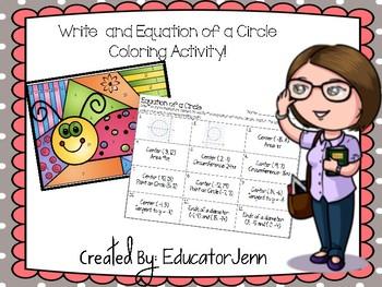 Equation of A Circle Coloring Activity  Educator Jenn