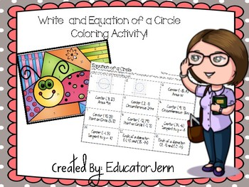 Equation of A Circle Coloring Activity  Educator Jenn
