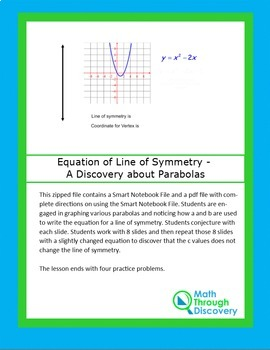 Equation of Line of Symmetry - A Discovery about Parabolas