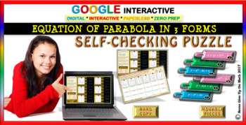 Equation of Parabola in 3 Forms (Google Interactive & Hard Copy)
