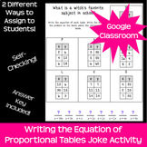 Equation of Proportional Tables Activity *Google Classroom