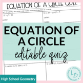 Equation of a Circle Quiz