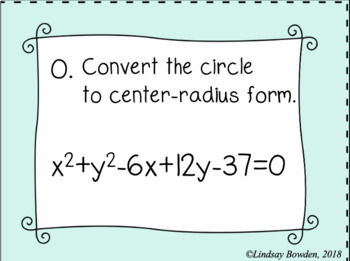 Equation of a Circle Task Cards