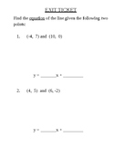 Equation of a Line Exit Ticket