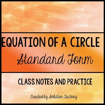 Equation of a circle - Standard Form