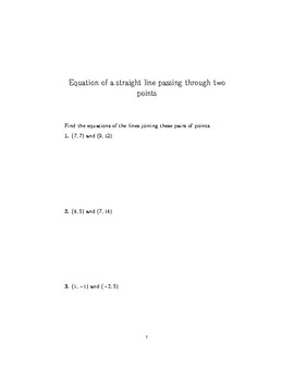 Equation of a straight line passing through two points