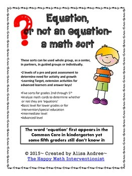 Equation vs. Not an Equation- a math vocabulary activity