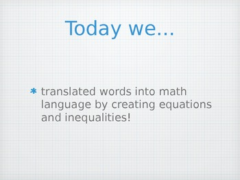 Equation/Inequality PowerPoint (Goes with Riddle Activity)