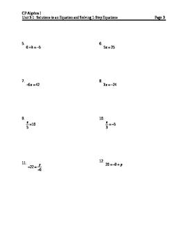 Equations 1: 1-Step equations notes