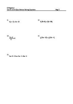 Equations 13: Equations Quiz #1 Review
