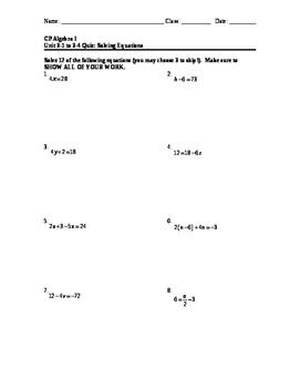 Equations 14: Solving Equations Quiz #1