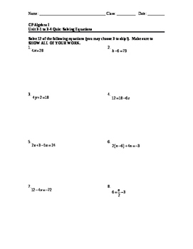 Equations 14: Solving Equations Quiz #1