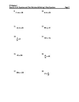 Equations 2: 1-step Equations WS