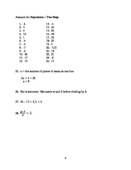 Equations - 2 step with common core