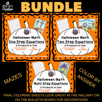 Halloween Fall Equations Maze &  Color by Number Coloring Page Super Bundle