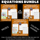 Thanksgiving Math Activities Solving Equations One, Two, M