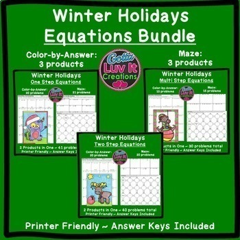 Christmas Math Equations Maze & Color by Number Super Christmas Activity Bundle