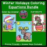 Christmas Math Winter Math Solving Equations Maze & Color