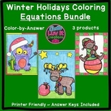Christmas Math Winter Math Solving Equations Maze & Color by Number SUPER BUNDLE