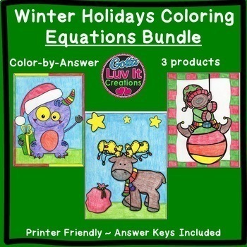 Christmas Math Equations Maze & Color by Number Super Chri