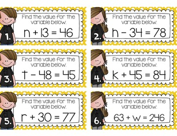 Equations Task Cards
