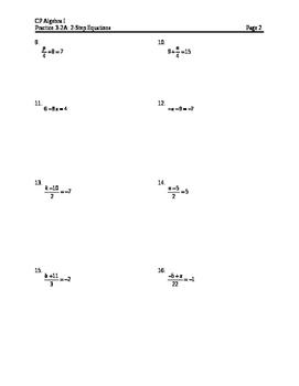 Equations 4: 2-step Equations HW